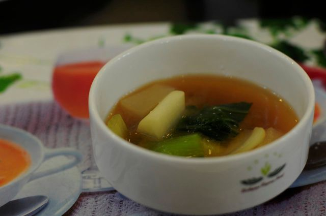 delicious miso soup based on the vegetable broth which used in the soup